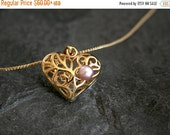 Valentines Day SALE, Women's Gift, Mother Daughter Gift for Mom, Heart Necklace, Gold Heart Pendant, Pink Pearl 22K Gold Plated Heart neckla