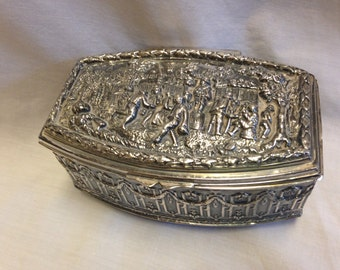 Vintage Victorian Silver Plated Casket Jewelry Box Marked J B on bottom