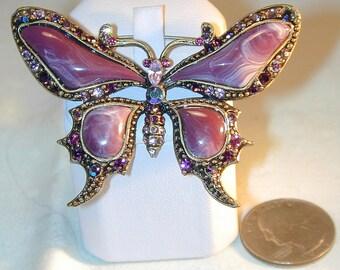 Vintage Purple Rhinestone Butterfly Brooch with Rhinestones