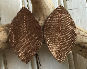 Copper Leather Feather Earrings