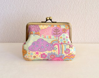 Fantasy pink over the rainbow coin purse - Liberty, frame purse, clasp purse