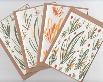 Greeting Card Set // 4 Leaf Print Notecards // Writing Set Notelets