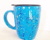 Ceramic Mug with Lid -18 ounces - Coffee Mug Pottery - Blue Green Gold
