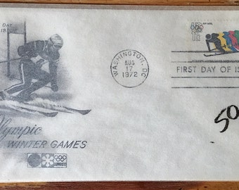 1972 Winter Olympic USPS First Day Issue Covers in Paper Sleeves