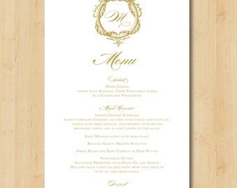 Printable Wedding Menu - Baroque Frame Gold