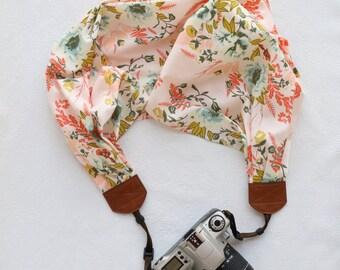 scarf camera strap pink floral - BCSCS065