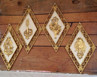 Syroco 1960's/1970's Hollywood Regency Glam Set of Four Plastic Wall Hangings Wall Decor