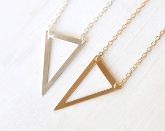 Large Modern Triangle Cut Out Necklace // 14K Gold Filled, Sterling Silver // Simple everyday layering long jewelry