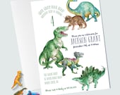 Dinosaur Invitations - Printable/DIY/Watercolor