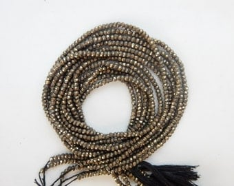 2.6mm Pyrite metallic gold, faceted rondelle , full strand (14 inches)