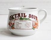 Vintage soup cup  - Oxtail Kitchen mug recipe cook drink handle Large blue cooking kitchenware