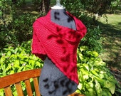 CUSTOM Hand crocheted shawl in BLACK with moss stitching and scallop edging