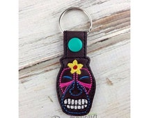 ON SALE Tiki Key Fob Embroidery Design Snap Tab