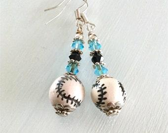 Baseball Earrings Electric Blue and Black