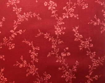 Destash One Yard Cranberry Colored Vine Print 100% Cotton