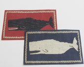 Miniature Whale Rug for Dollhouse in Red or Blue One Twelfth Scale