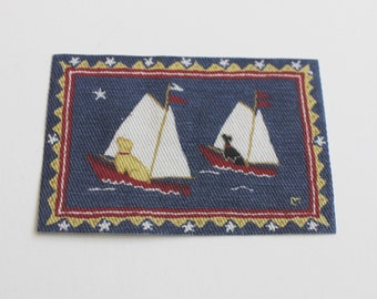 Miniature Rug Two Labs in Boats in Red White and Blue One Twelfth Scale