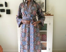 S, M Indian maxi dress, ethnic floral with mirrors, by Ramona Rull