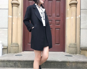 Babydoll Lapel High Waist Cute Winter Coat /Classic Double- Faced/Sided Cashmere and Wool Jacket/18 Colors / RAMIES