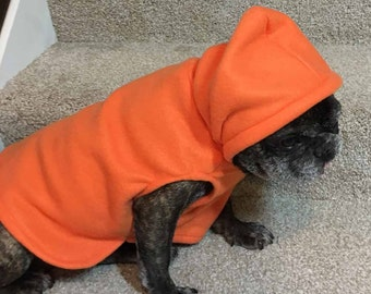 French Bulldog Pumpkin Orange  Fleece Hoodie