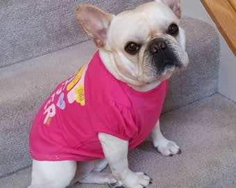 French Bulldog Frenchie Girl Repurposed Hot Pink Big Sister T-Shirt
