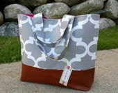 Gray diaper bag, moroccan tote bag, quatre foil bag, leather bottom, leather tote bag, ,overnight bag,