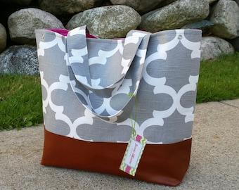 Gray diaper bag, moroccan tote bag, quatre foil bag, leather bottom, leather tote bag, ,overnight bag,