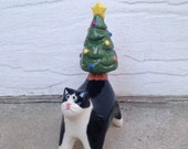 black and white cat with Christmastree tail - miniature ceramic sculpture