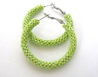 Yellow green hoop earrings | woven green beaded jewelry | glass beaded earrings | seed bead hoop earrings