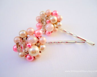 Vintage earring hair pin - Blush light pink cotton candy beaded cluster pearls girl fun unique embellish jeweled decorative hair accessories