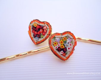 Vintage earrings hair slides - Italy's micro mosaic glass tile art tiny colorful flowers heart gold unique fun decorative hair accessories