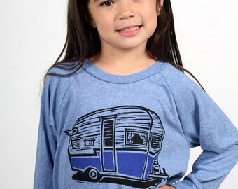Vintage Camper On American Apparel Pullover Tri Blend Blue 2T, 4T, 6T, 8Y, 10Y, 12Y