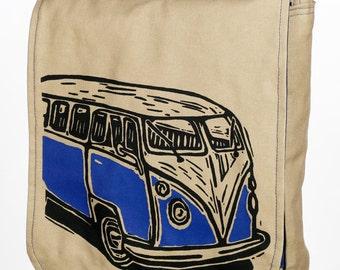 Khaki Vintage Van Messenger Bag With Padded IPad Tablet Pocket