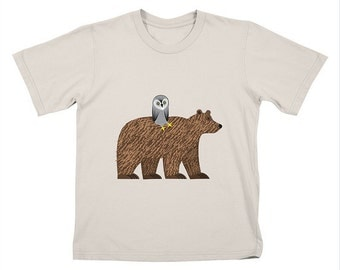 The Owl and The Bear - Childrens - T-shirt / Tee / Kids / Youth - Stone / Lemon Yellow / White by Oliver Lake - iOTA iLLUSTRATION