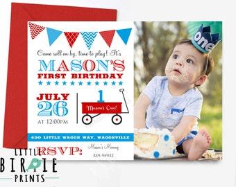 WAGON INVITATATION Little Red wagon invitation Wagon first birhtday invitation Wagon 1st birthday party invitation Little Red Wagon Invite