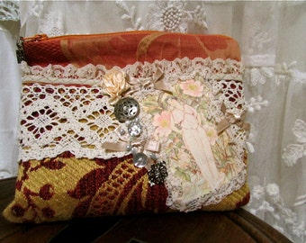Cute Fabric Wallet, handmade thick textured upholstery fabrics, lace beads buttons embellished, small coin purse cosmetic bag