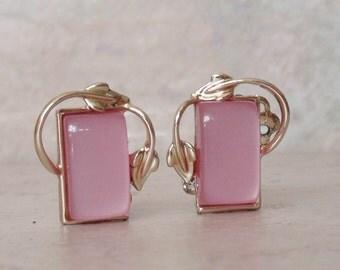 Pink Moonglow Earrings Coro Leaf Vine Clip On Vintage 072514RL