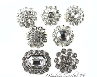Clear Rhinestone Buttons Acrylic 19 - 25 mm  - Button Lot, Silver Buttons, Wholesale Buttons, Acrylic Rhinestone Buttons, Headband Supplies