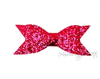 Fuchsia Thin Glitter Bows 4 inch - Fuchsia Glitter Hair Bow, Hot Pink Glitter Bows, Hot Pink Glitter Bow Headband, Pink Glitter Bow Tie