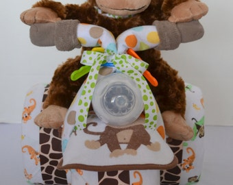 Trike Motorcycle Diaper Cake Baby Shower Gift, Baby Cake, Tricycle, Trike  3-Wheeler ATV Monkey, Jungle, Baby Boy ,Centerpiece,