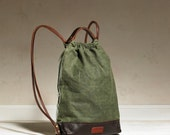 Drawstring Backpack - Olive Waxed Canvas