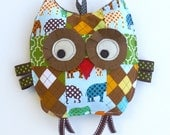 Baby Toy, Henry the Patchwork Owl, Crinkle Toy, Crinkle Owl, Great Baby Boy Gift