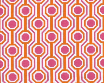 END of BOLT - 14 inches - Tanya Whelan - Dolce - Glamour in Fuchsia hot pink and orange geometric - cotton quilting fabric