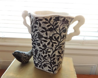 Porcelain Vase in Black and White  with Whimsical Handles, Hand Carved with Birds and Flowers