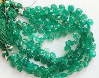 55% ON SALE Green Onyx Beads, Green Onyx Heart Briolettes, Green Onyx Faceted Heart Beads, Emerald Green Onyx, Original Green Onyx Necklace,