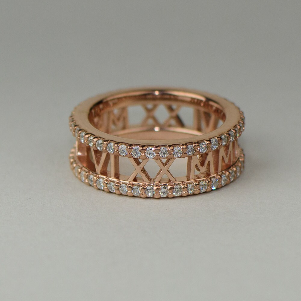 Roman Numeral Wedding Bands: Rose Gold Roman Numeral Ring With Diamond Eternity By