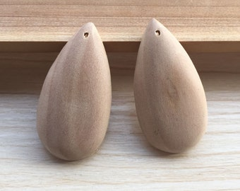 20 pieces Large water-drop Wood charm Unfinished Natural Wood Bead flat back Tear-Drop pendants 27x52mm