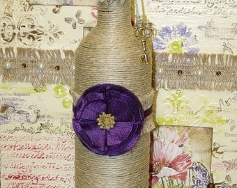 Shabby Chic Hemp Cord Wrapped Purple Flowers Burlap Upcycled Wine Bottle Indie Home Decor Art Bohemian Cottage Boho Hippie Chic
