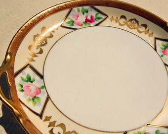 Gorgeous Vintage Nippon Gold Edged Handled Tray with Roses and Wonderful Detail Art Deco