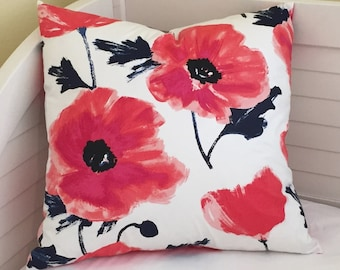 Kravet Poppies Maraschino (on both sides) Designer Pillow Cover -  Square, Lumbar and Euro Sizes